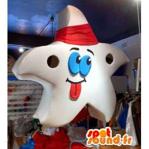 Giant white star mascot. Costume Star