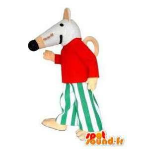 Mascotte del mouse bianco vestita. Mouse costume