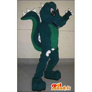 Mascotte de dragon vert bicolore