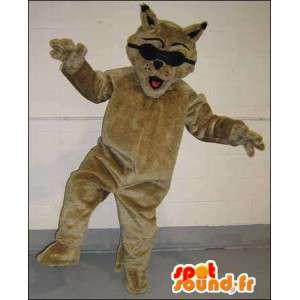 Mascotte de chat marron et noir
