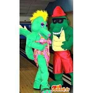 Mascotte de couple de crocodiles. Pack de 2