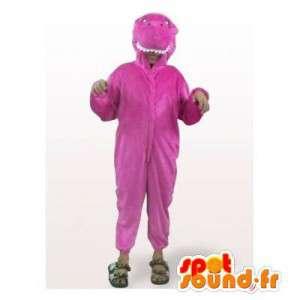 Mascotte de dinosaure violet. Costume de dinosaure