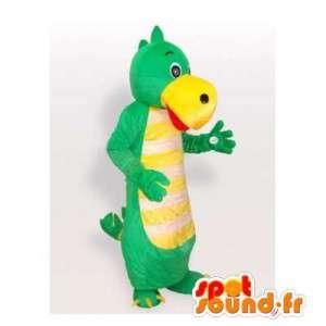Mascotte de dinosaure vert et jaune. Costume de dinosaure