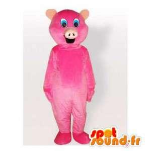 Mascotte de cochon rose, simple et personnalisable