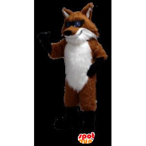 Naranja mascota Fox, blanco y negro con gafas