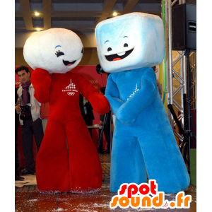 2 mascots marshmallow, sugar lumps