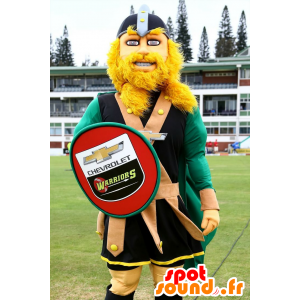 Mascot blond Viking, with a shield