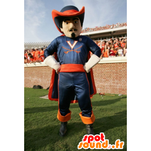Mascot orange and blue musketeer