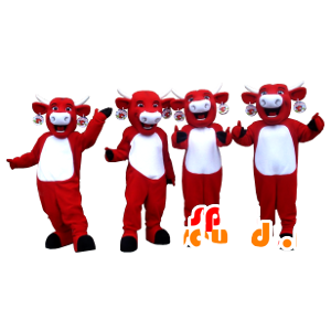 4 mascots Kiri cows, red and white cows