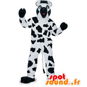 Black and white cow mascot