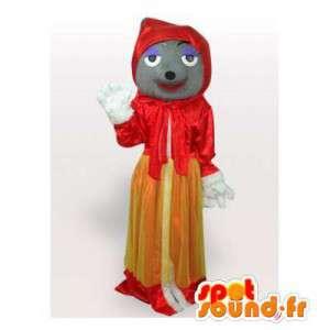 Mascotte de loup en chaperon rouge. Costume chaperon rouge