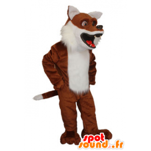 Brown fox mascot and realistic white