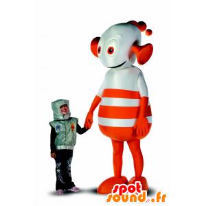 Robot maskotti, oranssi ja valkoinen ulkomaalainen, jättiläinen