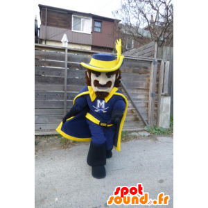 Mascot blue and yellow Musketeer
