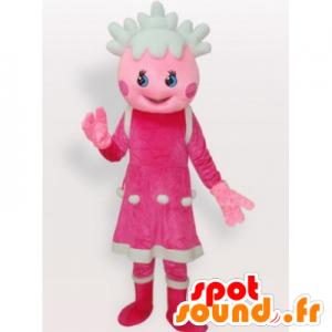 Dívka maskot panenka růžové a bílé