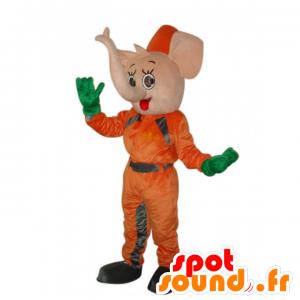 Mascotte d'éléphant rose en combinaison orange