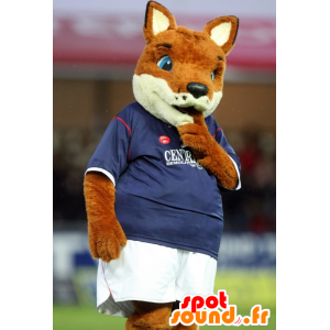 Orange and white fox mascot, in sportswear