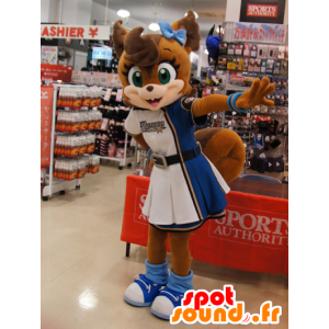 Mascot brown fox in cheerleader dress