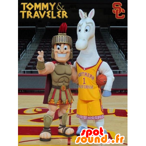 2 mascots, a gladiator, a Roman and a gray horse