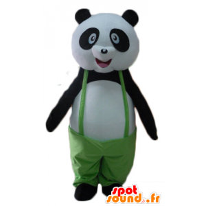 Mascot panda black and white, with a green jumpsuit