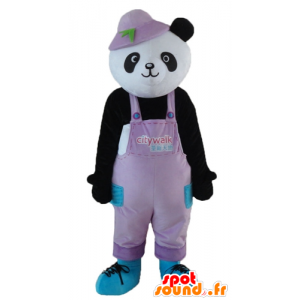Mascot black and white panda, in overalls, with a hat