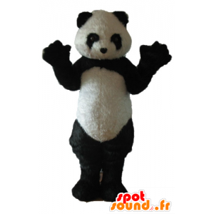 Mascot black and white panda, while hairy