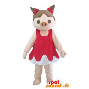 Mascotte de cochon rose et marron en robe rouge et blanche