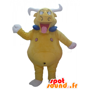 Bull mascot, yellow buffalo, giant and funny