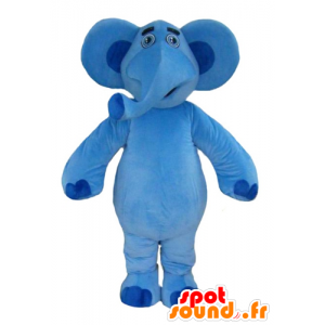 Mascotte de gros éléphant bleu très sympathique