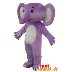 Mascotte d'éléphant violet et blanc