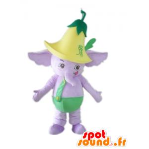 Mascotte d'éléphant violet, en tenue verte, avec une fleur