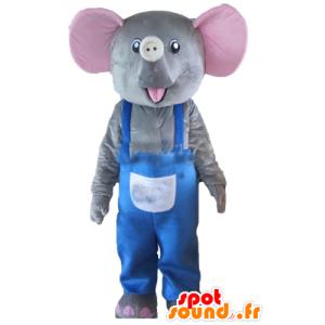 Mascotte d'éléphant gris et rose, avec une salopette bleue