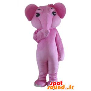 Mascotte d'éléphant rose, géant et entièrement personnalisable