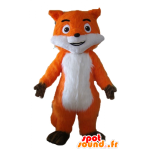 Beautiful mascot orange fox, white and brown, very realistic