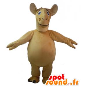 Mascotte de chameau, de dromadaire beige, géant