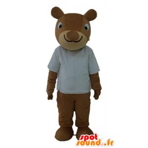 Mascot ardilla marrón, sonriente, con camisa blanca