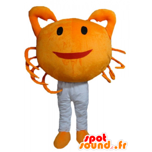 Mascotte de crabe orange, géant et souriant