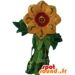 Mascot hermosa flor amarilla y roja con hojas