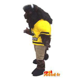 Brown buffalo mascot yellow jersey