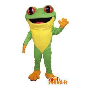 Verde del traje y la rana amarilla.Traje de la rana
