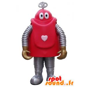Maskotti punainen ja harmaa robotti sarjakuva