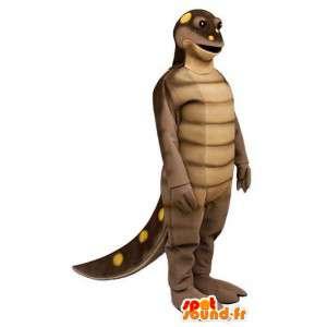 Mascotte de dinosaure marron à pois jaunes