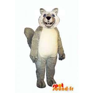 Mascotte de loup poilu, gris et blanc