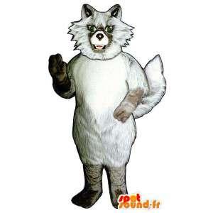 Mascotte de loup blanc et beige, tout poilu