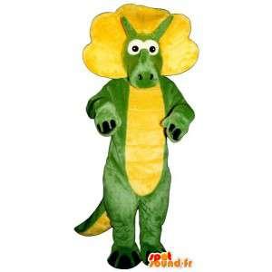 Mascotte de dinosaure vert et jaune - Costume personnalisable