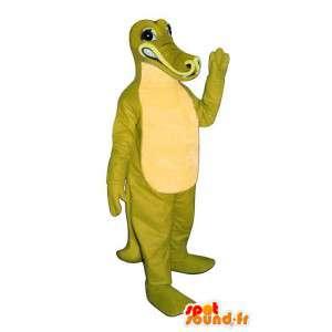 Mascotte de crocodile vert et jaune - Costume personnalisable