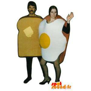 Two mascots, a fried egg and sandwich bread