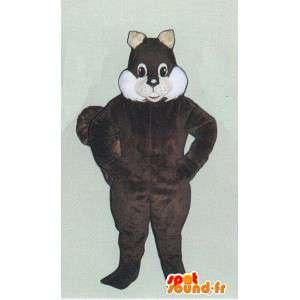 Mascot marrón oscuro y la ardilla blanca