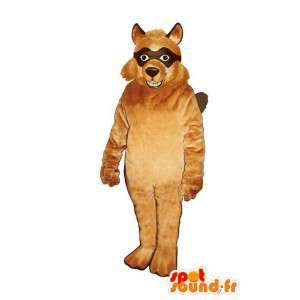Mascotte de loup masqué de couleur marron