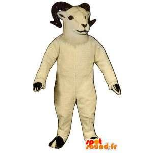Mascot white ram. Costume ram